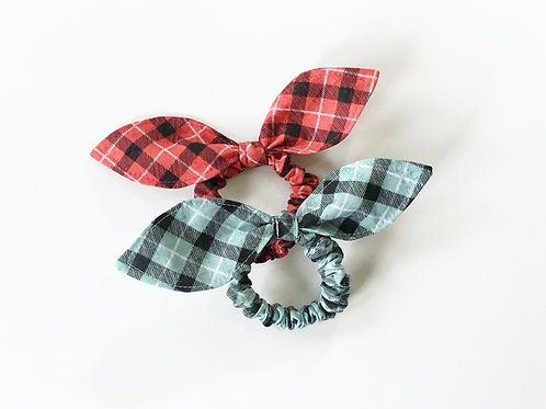 Plaid hair scrunchie,Ponytail holder,Scrunchie with bow