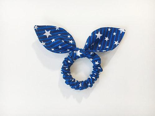 Scrunchies Patriotic Blue strip,Knot bow hair tie,Ponytail holder