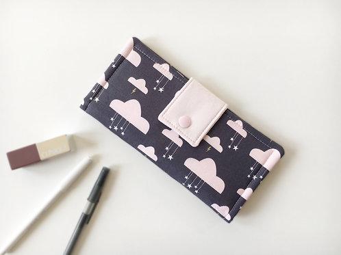 Women's wallet,Pink cloud bifold slim wallets,Unique fabric wallet