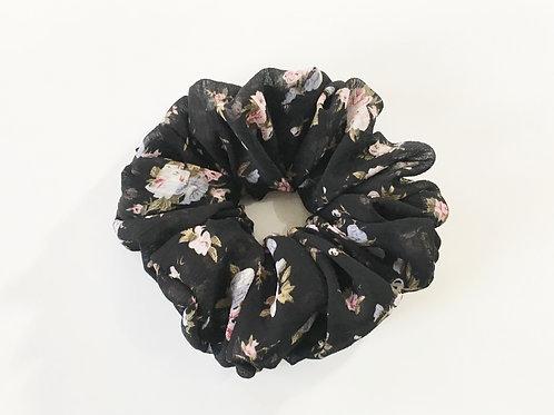 Chiffon scrunchies floral black color-Ponytail holder-Hair tie