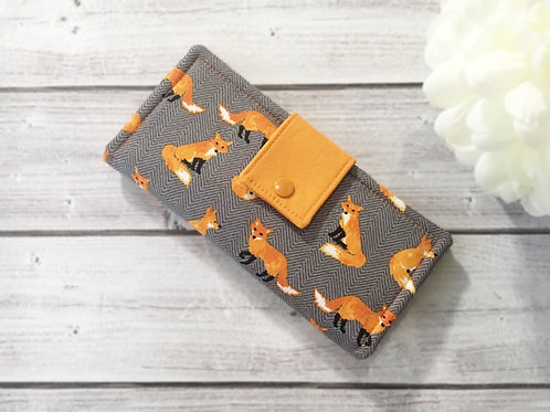 Womens wallet orange fox,Slim bifold wallets, Unique fabric wallet