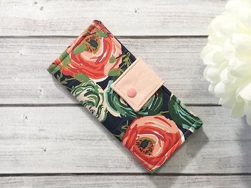 Women's wallet floral art gallery,Slim Bifold wallets,Unique fabric wallet
