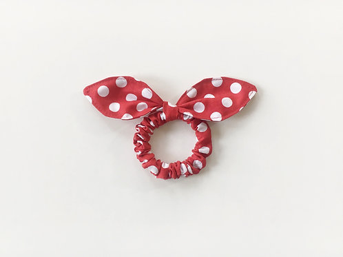Red knot bow hair tie, Scrunchies,Ponytail holder,Medium dot hair tie