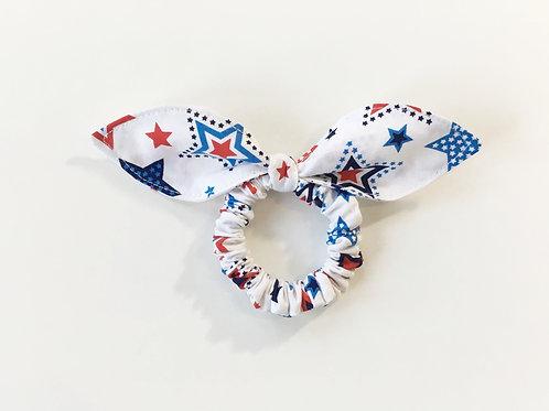 Scrunchies Patriotic star,Knot bow hair tie,Ponytail holder