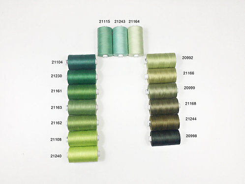 Sewing,Quilting thread 100% cotton,1200 yards,50wt,Green shade
