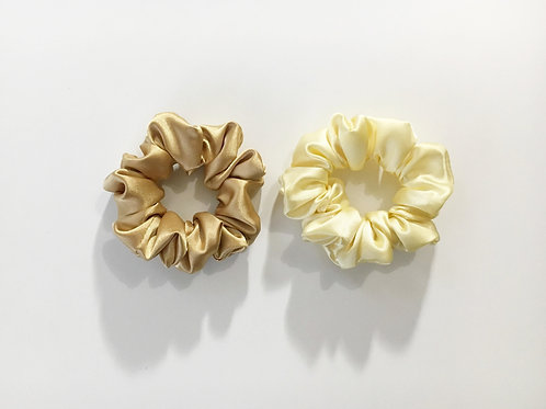 Satin scrunchies yellow color,Ponytail holder,Hair tie accessories