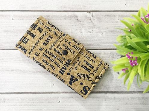Women's wallet,US navy brave wallet,Slim Bifold wallets,Unique fabric wallet