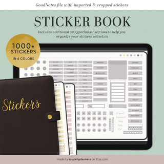 Digital stickers book for digital planning | Goodnotes stickers | Hyperlinked pdf ipad