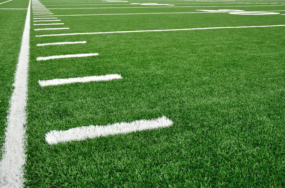 Sideline on a American Football Field wi