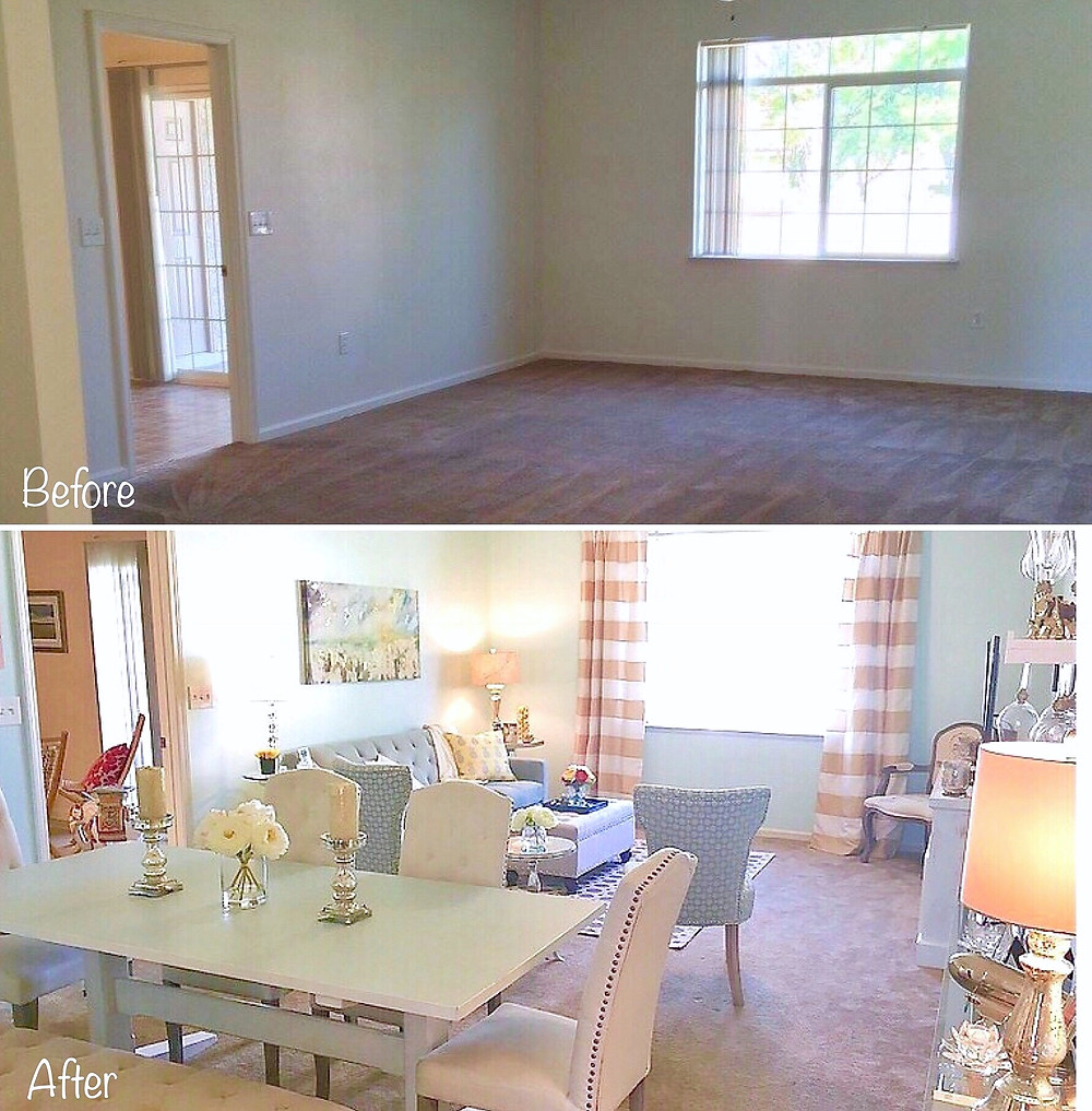 Before & After of Military Base House Living Room
