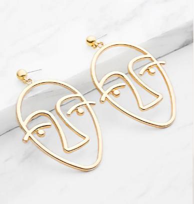 Metal Face Earrings