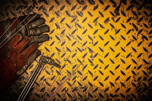 113. Worn Yellow Checker Plate - A1 Vinyl Photo Backdrop