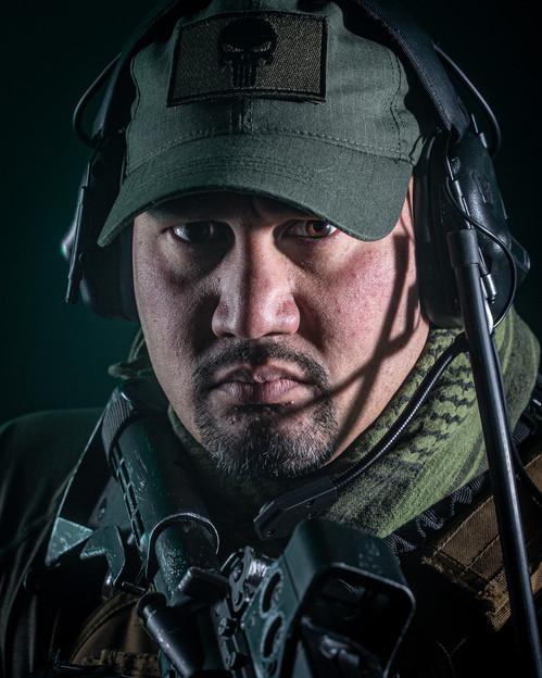 Actor in combat gear