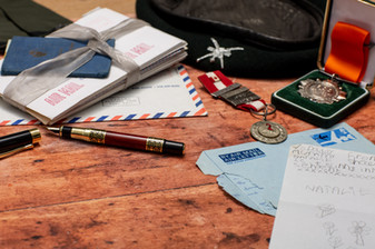 Army Memories on an old wooden desk