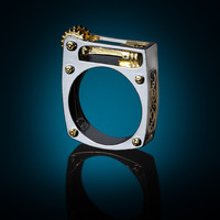Steampunk Ring on Blue Background