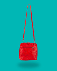 Red Handbag with green background