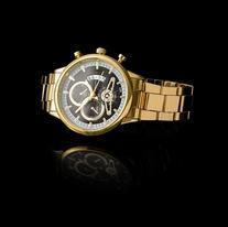 Gold Watch on Black Background