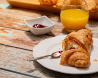 Continental Breakfast on a Rustic Table