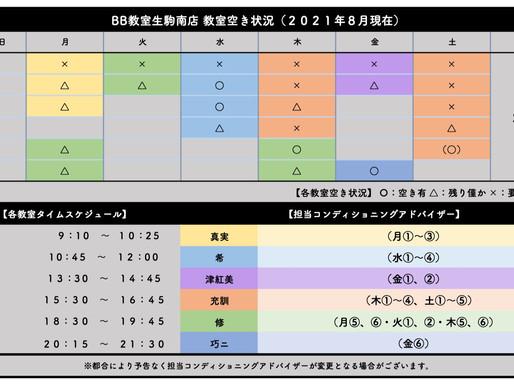 BB教室生駒南店:教室空き状況(2021年8月)