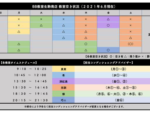 BB教室生駒南店:教室空き状況(2021年6月)