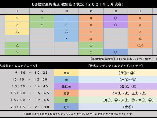 BB教室生駒南店:教室空き状況(2021年3月)