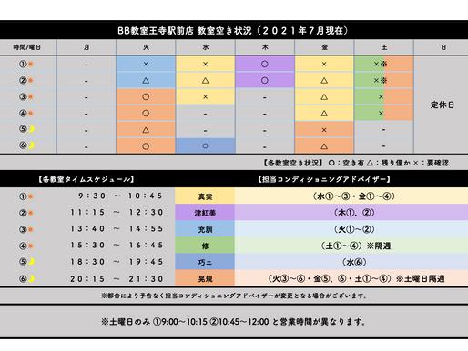BB教室王寺駅前店:教室空き状況(2021年7月)