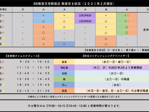 BB教室王寺駅前店:教室空き状況(2021年2月)