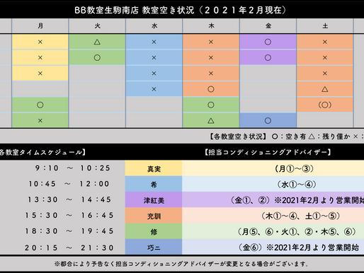 BB教室生駒南店:教室空き状況(2021年2月)