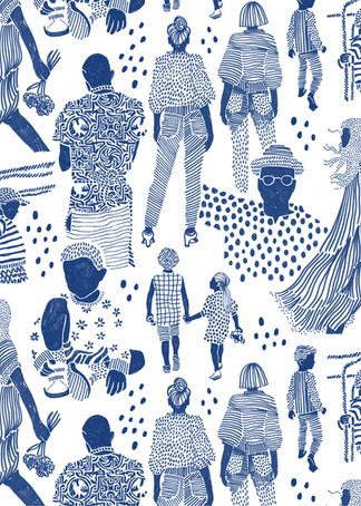 "Illustrations and pattern ""People in blue"""