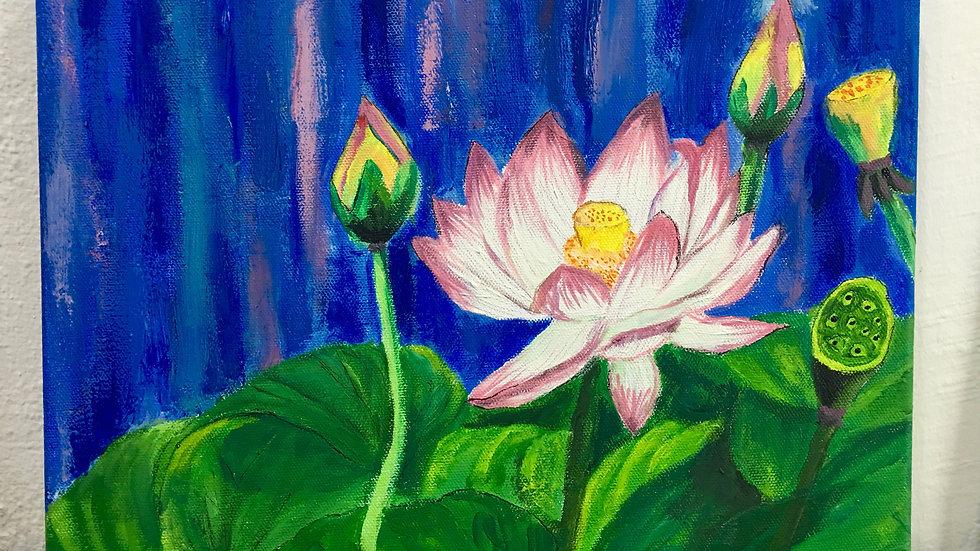 Lotus Flowers in the Pond Art
