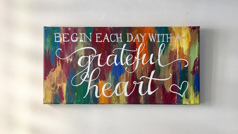 Forever Grateful Canvas Quote Art