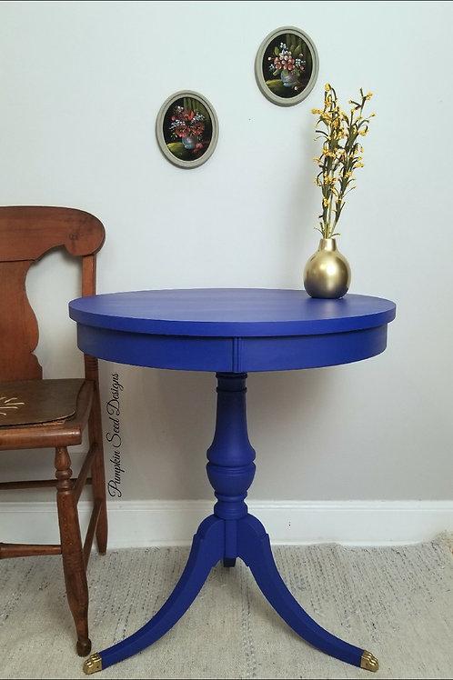 Cobalt Blue Drum Table