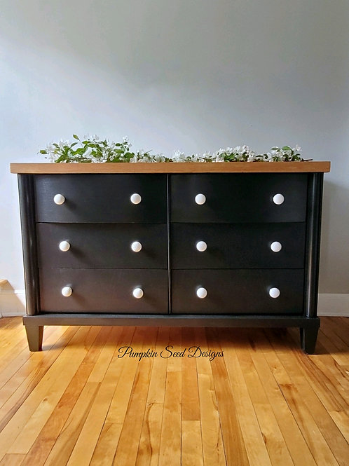 Modern Black 6-Drawer Dresser