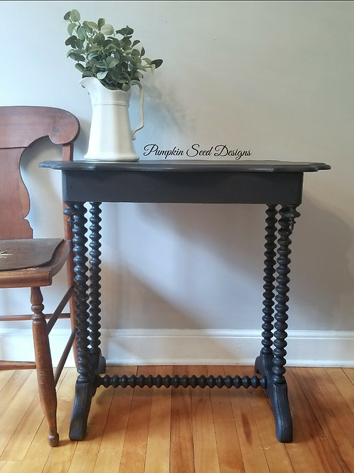Navy Spool-Turned Side Table