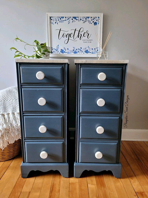 Industrial Blue Nightstands