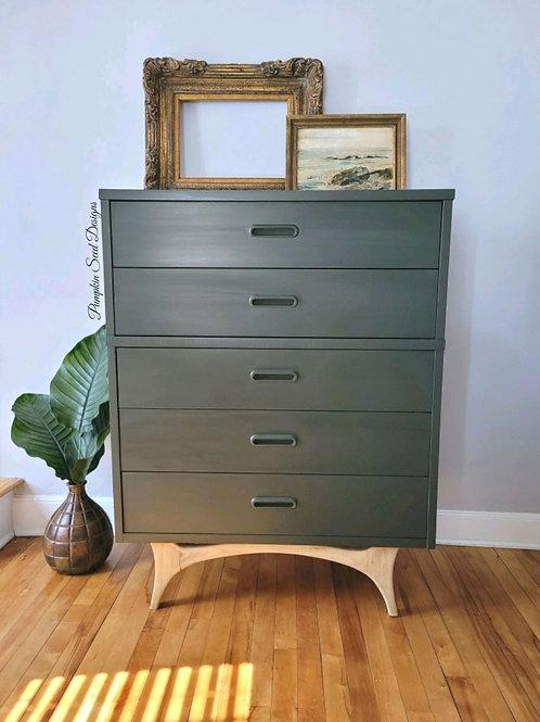 Soft Black Mid Century Modern Dresser