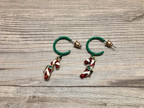 Candy Cane Charm Hoop Earrings