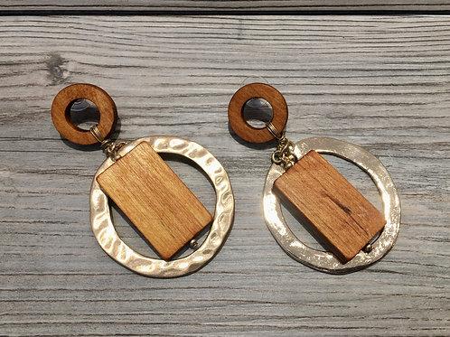 Wood and Metal Earrings