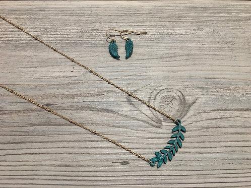 Leaf Bar Necklace Set