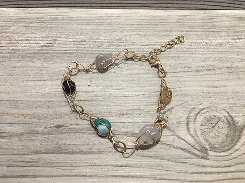 Natural Stone Wire Wrap Bracelet