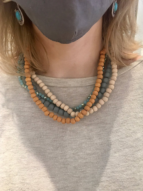 Wood Bead Layered Necklace