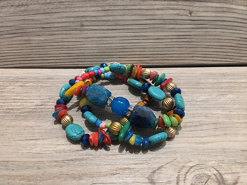 Semi Bead and Stone Bracelet Set