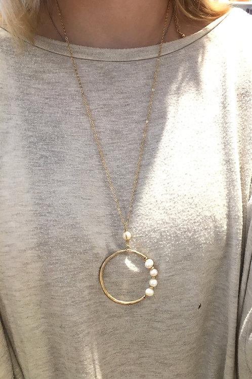 Circle Pearl Hoop Necklace