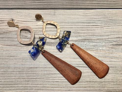 Oval Long Wood Earrings