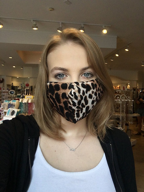 Brown Cheetah Face Mask