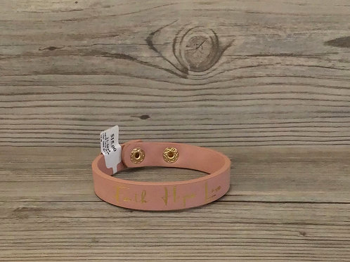 Faith Love Hope Leather Snap Bracelet