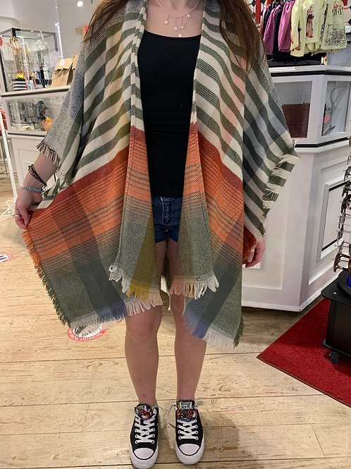 Striped Colorful Autumn Kimono- Grey