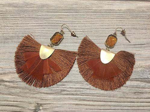 Tassel Fan and Feather Earrings