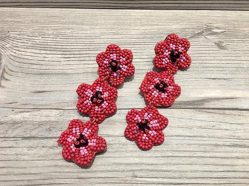 Cherry Blossom Beaded Earrings