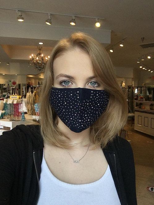 Navy Bling Face Mask